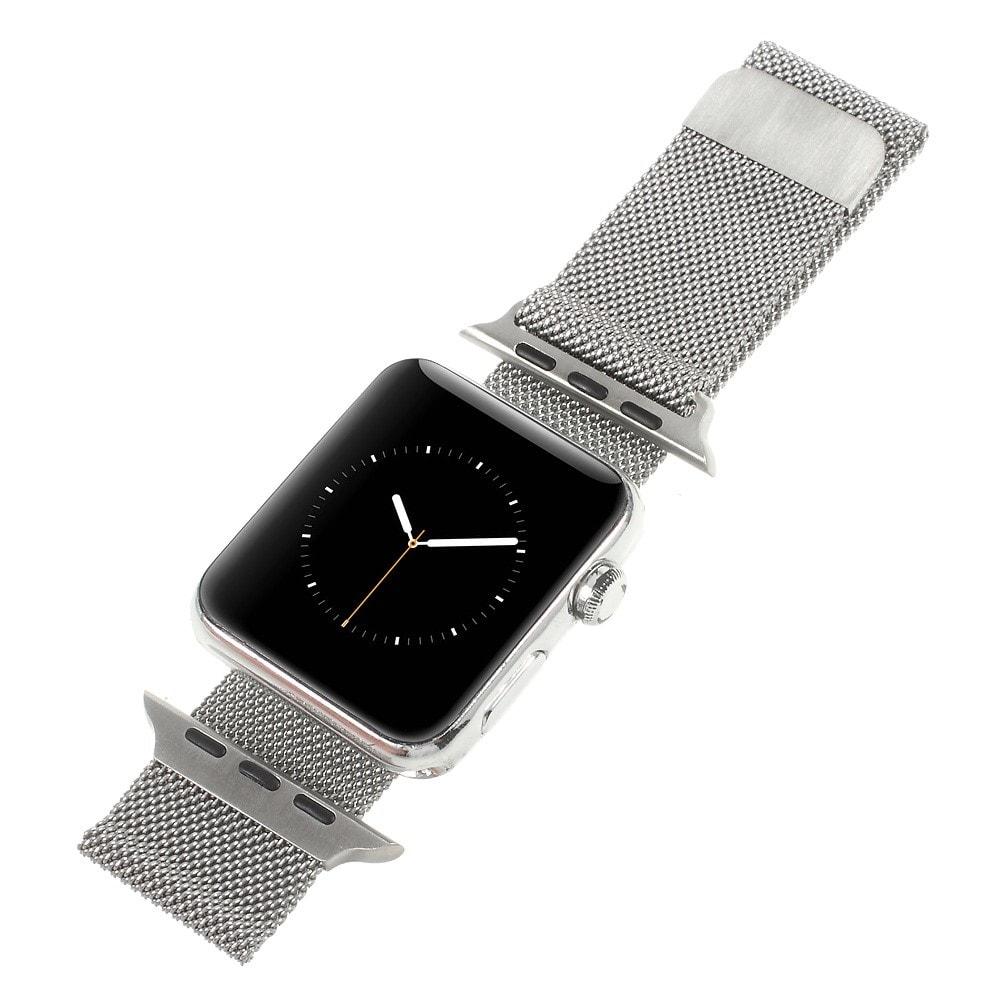 Apple Watch 42mm 44MM řemínek kovový Milanese Loop Milánský tah stříbrný