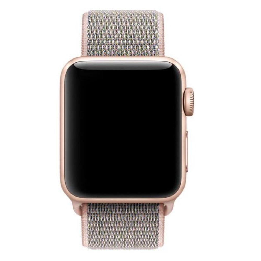 Apple Watch 42mm 44MM tkaný nylonový provlékací sportovní řemínek rose gold