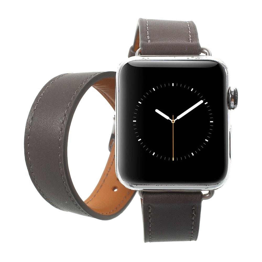 Apple Watch 38mm kožený pásek šedý