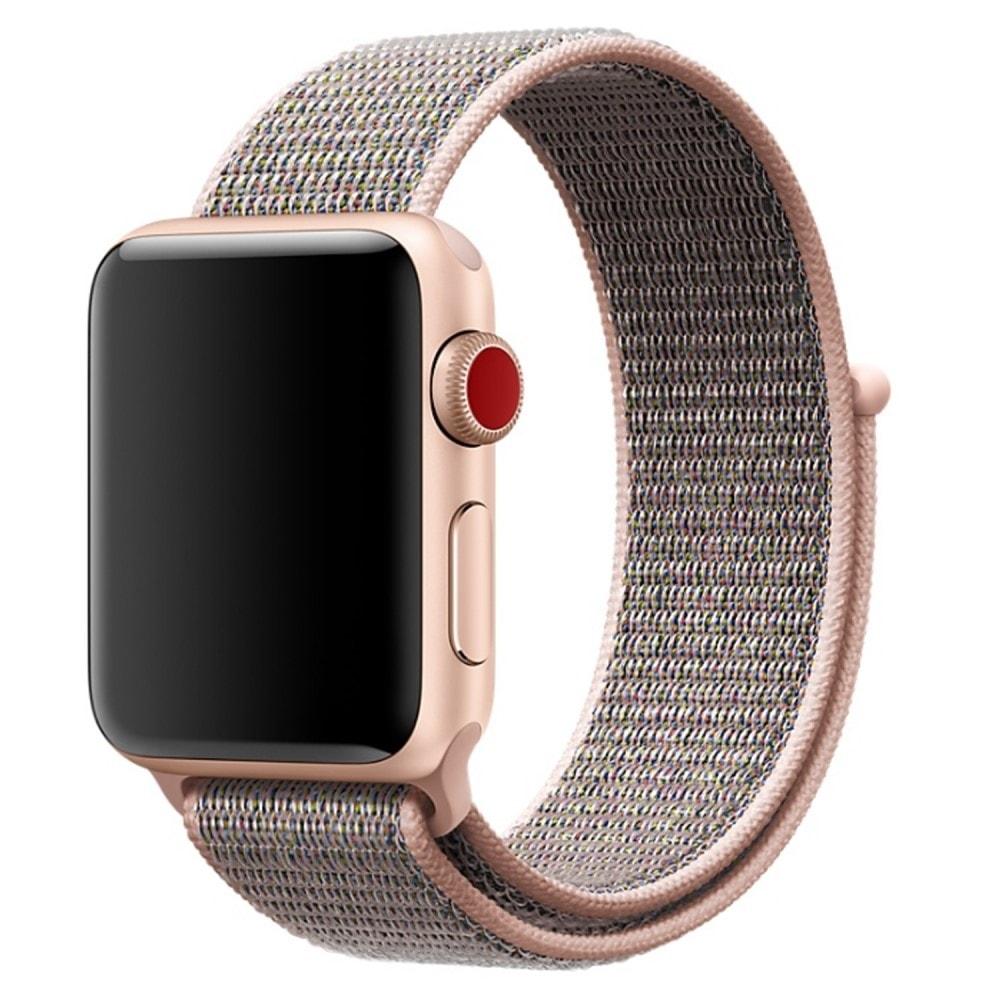 Apple Watch 42mm tkaný nylonový provlékací sportovní řemínek rose gold