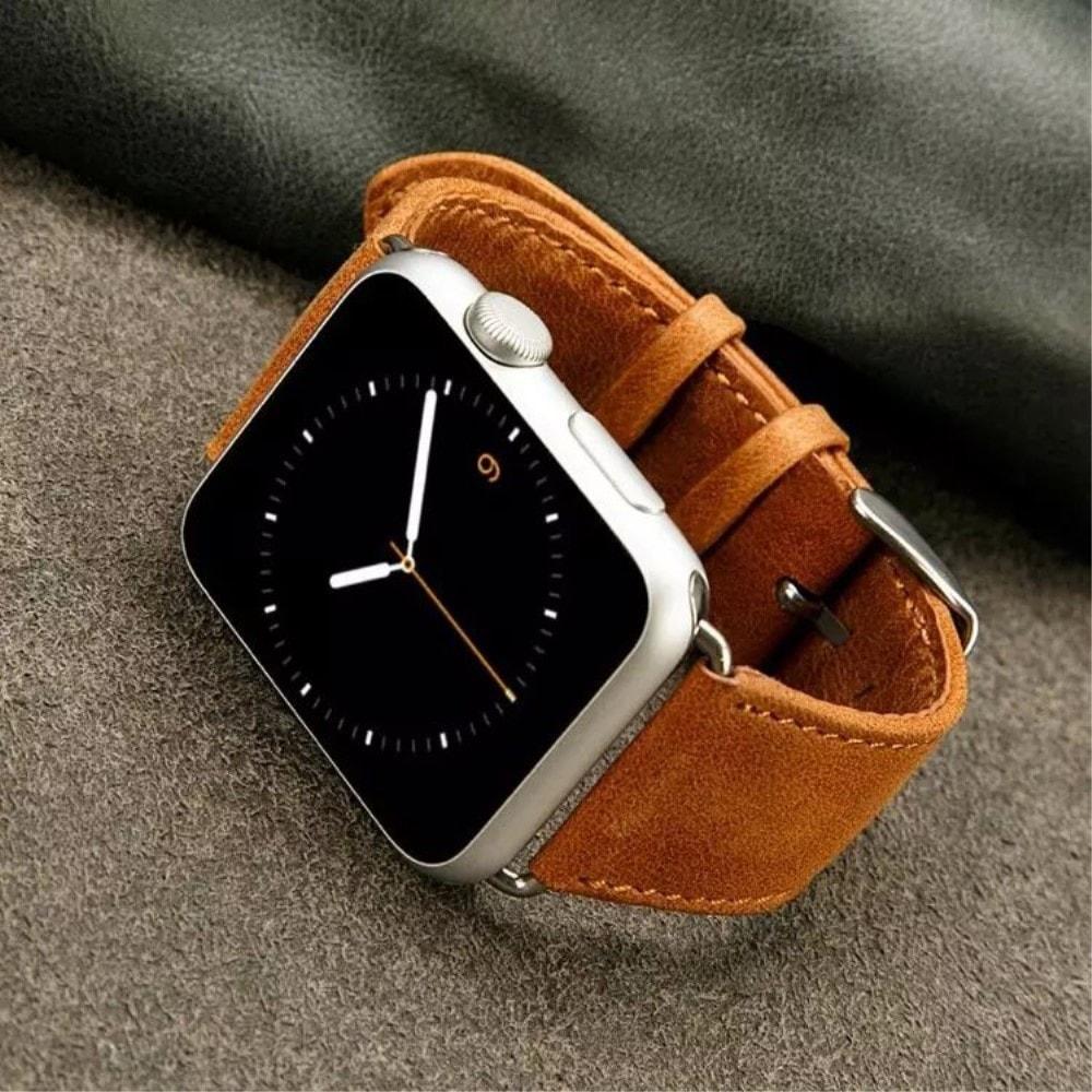 Apple Watch 42mm 44MM Kožený řemínek pásek na ruku Retro kůže hnědá