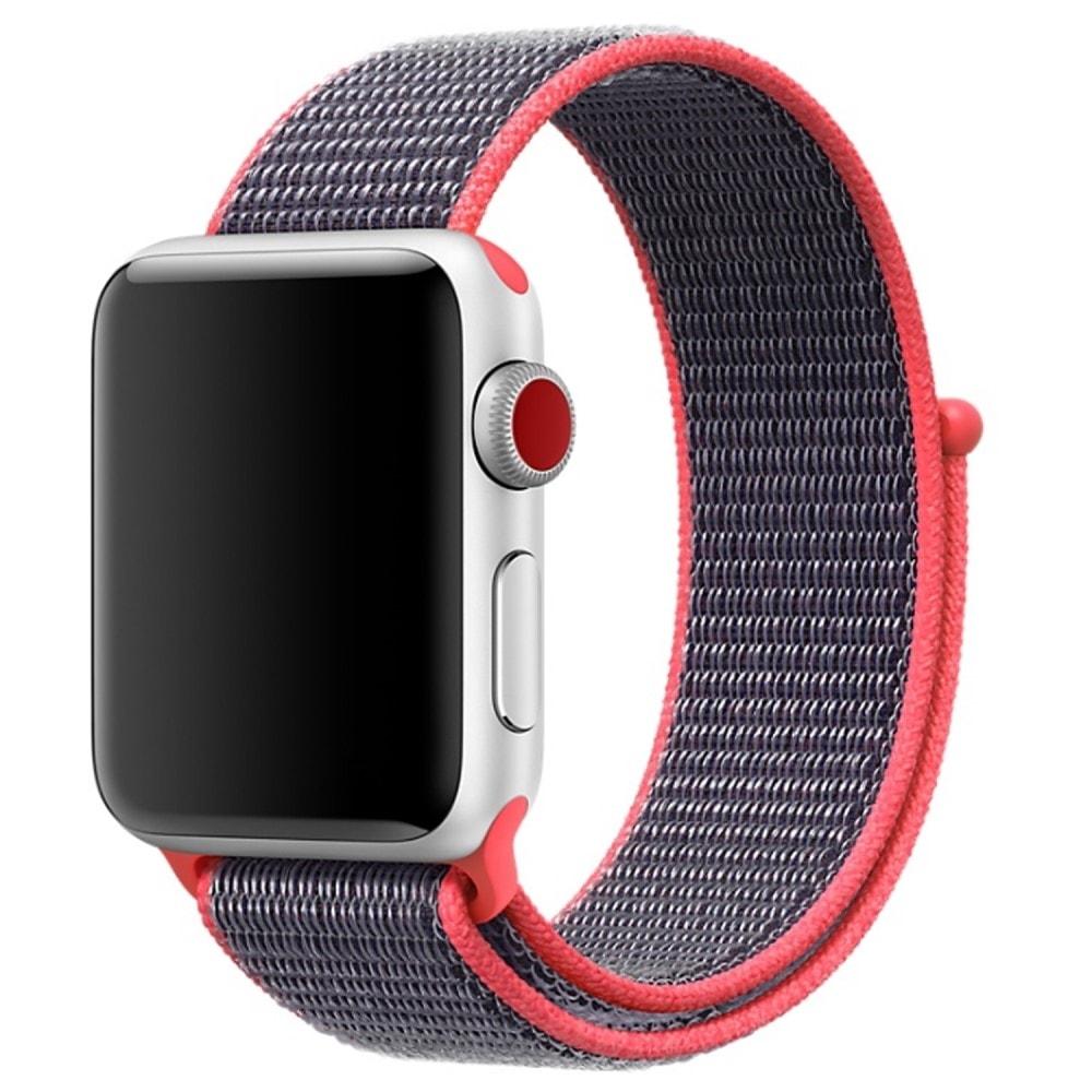 Apple Watch 42mm 44MM tkaný nylonový provlékací sportovní řemínek elektro tmavě růžový